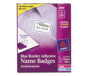Flexible Self-Adhesive Laser/Inkjet Name Badge Labels, 2 1/3 x 3 3/8, BE, 400/BX by AVERY-DENNISON