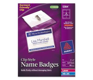 Avery 5384 Badge Holder Kit w/Laser/Inkjet Insert, Top Load, 3 x 4, White, 40/Box by AVERY-DENNISON