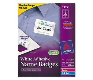 Avery 5395 Flexible Self-Adhesive Laser/Inkjet Name Badge Labels, 2 1/3 x 3 3/8, WE, 400/BX by AVERY-DENNISON
