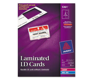 Avery 5361 Laminated Laser/Inkjet ID Cards, 2 1/4 x 3 1/2, White, 30/Box by AVERY-DENNISON