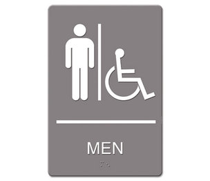 U.S. Stamp & Sign 4815 ADA Sign, Men Restroom Wheelchair Accessible Symbol, Molded Plastic, 6 x 9, Gray by U. S. STAMP & SIGN