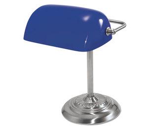 "LEDU CORP. L557BL Traditional Incandescent Banker's Lamp, Blue Glass Shade, 14""h, Chrome Base by LEDU CORP."