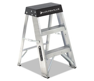 LOUISVILLE AS3002 Aluminum Step Stool, 17w x 18 1/4 Spread x 26h, Aluminum/Black by LOUISVILLE