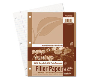 PACON CORPORATION 3203 Ecology Filler Paper, 8 x 10-1/2, Wide Ruled, 3-Hole Punch, White, 150 Sheets/PK by PACON CORPORATION