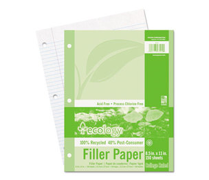 PACON CORPORATION 3202 Ecology Filler Paper, 8-1/2 x 11, College Ruled, 3-Hole Punch, WE, 150 Sheets/PK by PACON CORPORATION