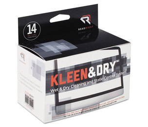 READ/RIGHT RR1205 Kleen & Dry Screen Cleaner Wet Wipes, Cloth, 5 x 5, 14/Box by READ/RIGHT