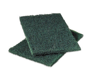 3M 86 Commercial Heavy-Duty Scouring Pad, Green, 6 x 9, 12/Pack by 3M/COMMERCIAL TAPE DIV.