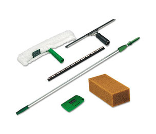 Unger PWK00 Pro Window Cleaning Kit w/8ft Pole, Scrubber, Squeegee, Scraper, Sponge by UNGER