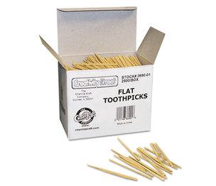 The Chenille Kraft Company 3690-01 Flat Wood Toothpicks, Wood, Natural, 2500/Pack by THE CHENILLE KRAFT COMPANY