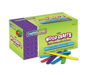 The Chenille Kraft Company 3775-02 Colored Wood Craft Sticks, 4 1/2 x 3/8, Wood, Assorted, 1000/Box by THE CHENILLE KRAFT COMPANY