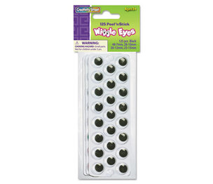 The Chenille Kraft Company 3438-02 Peel 'N Stick Wiggle Eyes, Assorted Sizes, Black, 125/Pack by THE CHENILLE KRAFT COMPANY