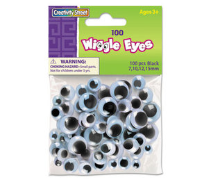 The Chenille Kraft Company 3446-02 Wiggle Eyes Assortment, Assorted Sizes, Black, 100/Pack by THE CHENILLE KRAFT COMPANY