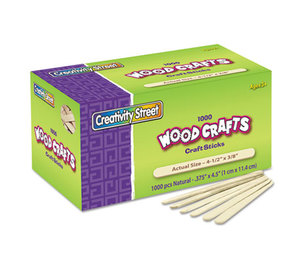 The Chenille Kraft Company 3775-01 Natural Wood Craft Sticks, 4 1/2 x 3/8, Wood, Natural, 1000/Box by THE CHENILLE KRAFT COMPANY