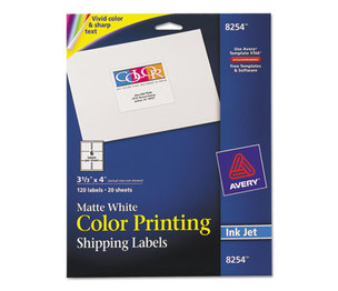 Avery 8254 Color Printing Mailing Labels, 3 1/3 x 4, Matte White, 120/Pack by AVERY-DENNISON