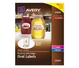 Avery 22820 Oval Print-to-the-Edge Labels, 2 x 3 1/3, White, 80/Pack by AVERY-DENNISON