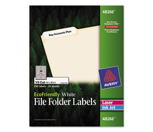 Avery 48266 EcoFriendly File Folder Labels, 2/3 x 3 7/16, White, 750/Pack by AVERY-DENNISON