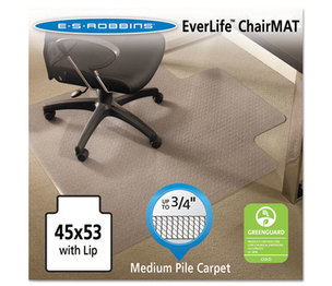 E.S. ROBBINS 122173 EverLife Chair Mats For Medium Pile Carpet With Lip, 45 x 53, Clear by E.S. ROBBINS