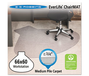 E.S. ROBBINS 122775 EverLife Chair Mats For Medium Pile Carpet, Contour,  66 x 60, Clear by E.S. ROBBINS