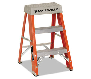 "LOUISVILLE FS1502 Fiberglass Heavy Duty Step Ladder, 28.28"", Orange, 2 Steps by LOUISVILLE"