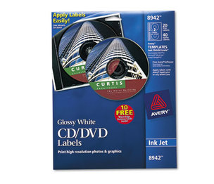 Avery 8942 Inkjet CD Labels, Glossy White, 20/Pack by AVERY-DENNISON