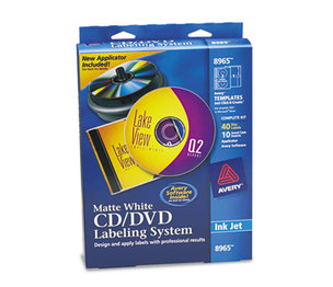 Avery 8965 CD/DVD Design Labeling Kits, Matte White, 40 Inkjet Labels and 10 Inserts by AVERY-DENNISON