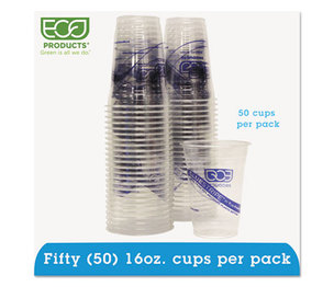 Eco-Products, Inc EP-CR16PK BlueStripe Recycled Content Clear Plastic Cold Drink Cups, 16oz, Clear, 50/Pack by ECO-PRODUCTS,INC.