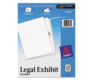 Avery 11370 Avery-Style Legal Side Tab Divider, Title: 1-25, Letter, White, 1 Set by AVERY-DENNISON