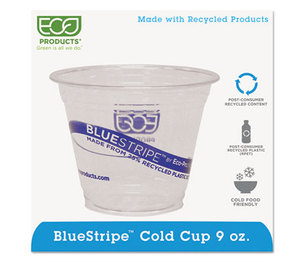 Eco-Products, Inc EP-CR9 BlueStripe Recycled Clear Plastic Cold Cups, 9oz, 100/Pack, 10 Packs/Carton by ECO-PRODUCTS,INC.