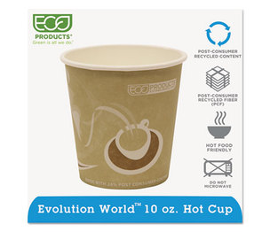 Eco-Products, Inc EP-BRHC10-EW Evolution World 24% PCF Hot Drink Cups, 10oz, Tan, 1000/Carton by ECO-PRODUCTS,INC.