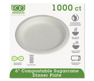 "Eco-Products, Inc EPP016 Compostable Sugarcane Dinnerware, 6"" Plate, Natural White, 1000/Carton by ECO-PRODUCTS,INC."