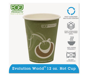 Eco-Products, Inc EP-BRHC12-EW Evolution World 24% PCF Hot Drink Cups, Sea Green, 12oz, 1000/Carton by ECO-PRODUCTS,INC.
