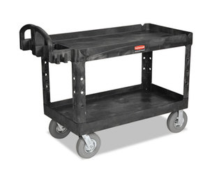 RUBBERMAID COMMERCIAL PROD. RCP 4546 BLA Heavy-Duty Utility Cart, Two-Shelf, 26w x 55d x 33 1/4h, Black by RUBBERMAID COMMERCIAL PROD.