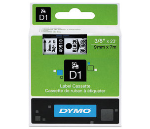 DYMO 40910 D1 Standard Tape Cartridge for Dymo Label Makers, 3/8in x 23ft, Black on Clear by DYMO