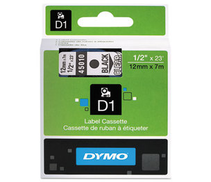 DYMO 45010 D1 Standard Tape Cartridge for Dymo Label Makers, 1/2in x 23ft, Black on Clear by DYMO