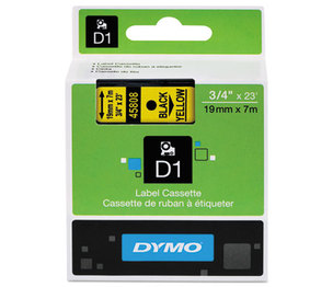 DYMO 45808 D1 Standard Tape Cartridge for Dymo Label Makers, 3/4in x 23ft, Black on Yellow by DYMO
