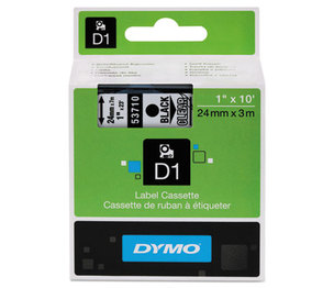 DYMO 53710 D1 Standard Tape Cartridge for Dymo Label Makers, 1in x 23ft, Black on Clear by DYMO