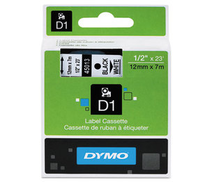 DYMO 45013 D1 Standard Tape Cartridge for Dymo Label Makers, 1/2in x 23ft, Black on White by DYMO