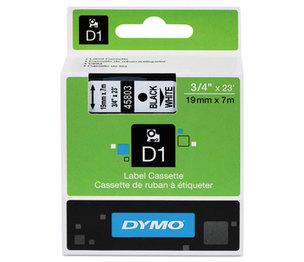 DYMO 45803 D1 Standard Tape Cartridge for Dymo Label Makers, 3/4in x 23ft, Black on White by DYMO