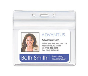 Advantus Corporation 75523 Resealable ID Badge Holder, Horizontal, 3 3/4 x 2 5/8, Clear, 50/Pack by ADVANTUS CORPORATION