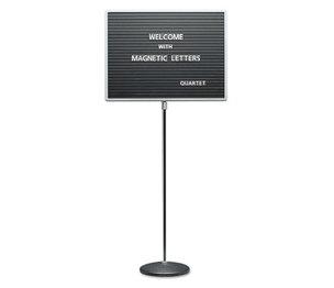 Quartet 7921M Adjustable Single-Pedestal Magnetic Letter Board, 24 x 18, Black, Gray Frame by QUARTET MFG.