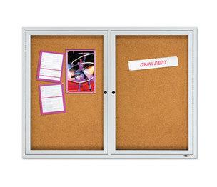 "Quartet 2124 Enclosed Cork Bulletin Board, Cork/Fiberboard, 48"" x 36"", Silver Aluminum Frame by QUARTET MFG."