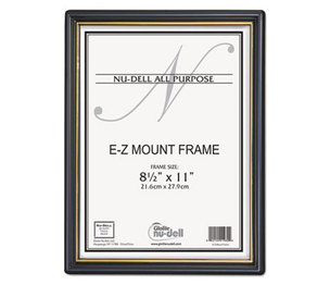 Nu-Dell Manufacturing Company, Inc 11880 EZ Mount Document Frame with Trim Accent, Plastic, 8-1/2 x 11, Black/Gold by NU-DELL MANUFACTURING