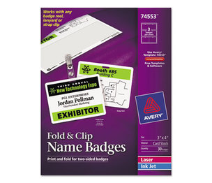 Avery 74553 Fold & Clip Badges, 3 x 4, White, 30/Box by AVERY-DENNISON