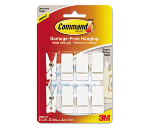3M 17089QVP Spring Hook, 3/4w x 5/8d x 1 1/2h, White, 8 Hooks/Packs by 3M/COMMERCIAL TAPE DIV.