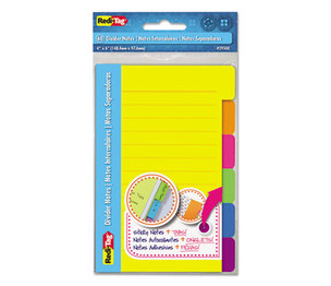 Redi-Tag Corporation 29500 Index Sticky Notes, 4 x 6, Ruled, Assorted Colors, 60-Sheet Pad by REDI-TAG CORPORATION