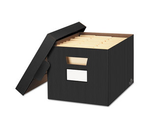 Fellowes, Inc 0029803 STOR/FILE Decorative Storage Box, Letter/Legal, Black/Gray, 4/Carton by FELLOWES MFG. CO.