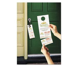 Avery 16150 Door Hanger w/Tear-Away Cards, 4 1/4 x 11, Matte White, 10/Sheet 40 Sheets/Pack by AVERY-DENNISON
