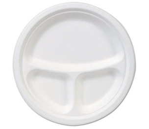 "DIXIE FOOD SERVICE ES9PCOMP EcoSmart Molded Fiber Dinnerware, 3-Compartment Plate, White, 9""Dia, 500/Carton by DIXIE FOOD SERVICE"
