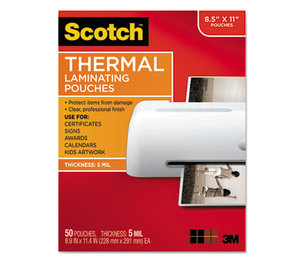 3M TP585450 Letter Size Thermal Laminating Pouches, 5 mil, 11 1/2 x 9, 50/Pack by 3M/COMMERCIAL TAPE DIV.