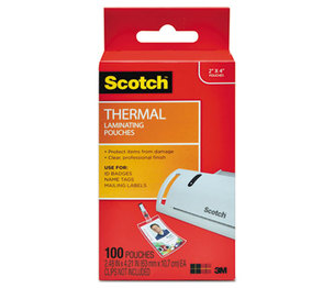 3M TP5852100 ID Badge Size Thermal Laminating Pouches, 5 mil, 4 1/4 x 2 1/5, 100/Pack by 3M/COMMERCIAL TAPE DIV.